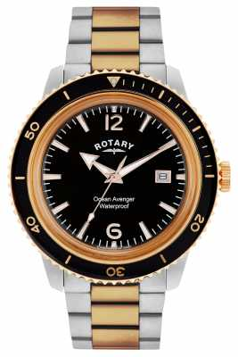 Rotary Mens Ocean Avenger Two Tone Black Dial GB02695/04