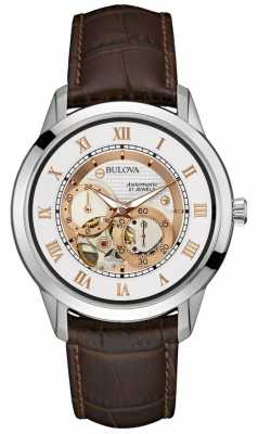 Bulova Mens Automatic Brown Leather 96A172