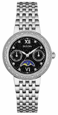 Bulova Womans Diamond Gallery Moonphase Stainless Steel Bracelet 96W210