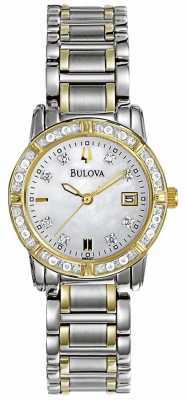 Bulova Womans Diamond Gallery Two Tone Stainless Steel Bracelet 98W107