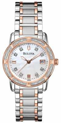 Bulova Womans Diamond Gallery Two Tone Stainless Steel Bracelet 98R199