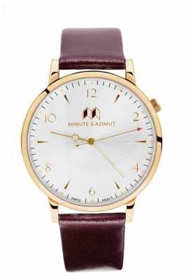 Minute & Azimut Womans Burgundy Calfskin Leather Strap Gold Case BURBICA38G