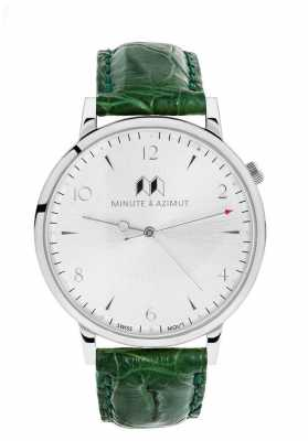 Minute & Azimut Womans Green Alligator Leather Strap Silver Case EMGBIAL38S