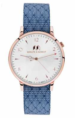 Minute & Azimut Mens Blue Canvas NATO Strap Copper Case NAMIBINA38C