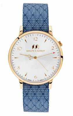 Minute & Azimut Mens Blue Canvas NATO Strap Gold Case NAMIBINA38G