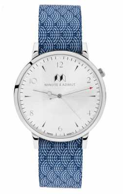 Minute & Azimut Mens Blue Canvas NATO Strap Silver Case NAMIBINA38S