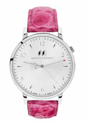 Minute & Azimut Womans Pink Alligator Leather Strap Silver Case PINBIAL38S