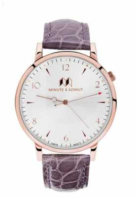 Minute & Azimut Womans Lavender Alligator Leather Copper Case LAVBIAL38C