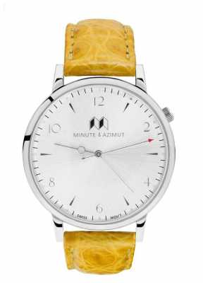 Minute & Azimut Womans Yellow Alligator Leather Strap Silver Case MUSBIAL38S