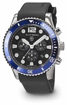 Elliot Brown Mens Bloxworth Blue And Black Black Rubber Strap 929-012-R01