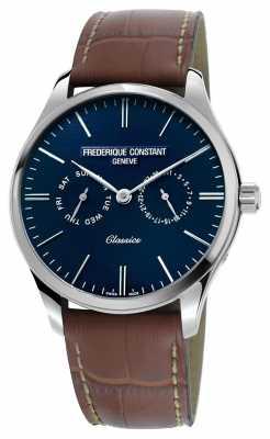 Frederique Constant Mens Classics Quartz Brown Leather Strap Blue Dial FC-259NT5B6