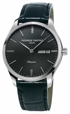 Frederique Constant Mens Classics Index BlackLeather Strap Dark Grey Dial FC-225GT5B6