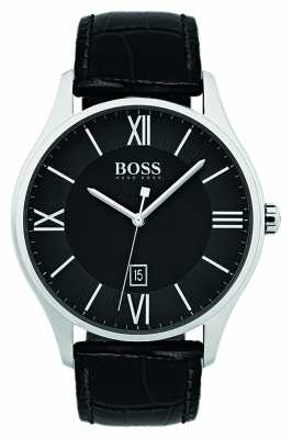 Hugo Boss Mens Governor Classic Black Leather Strap Watch 1513485