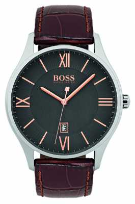 Hugo Boss Mens Governor Classic Brown Leather Strap Watch 1513484