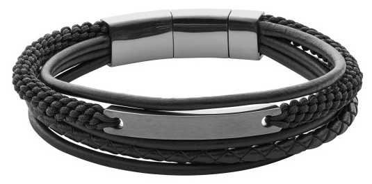 Fossil Mens Vintage Casual Black Layered Bracelet JF02378793