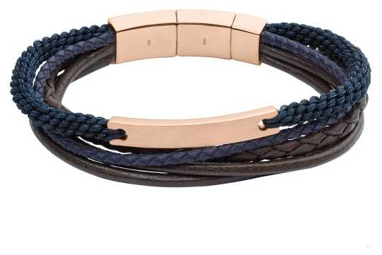 Fossil Mens Casual Rose Gold Plated Blue Layer Bracelet JF02379791