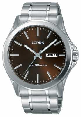 Lorus Mens Urban Dress Classic Steel Bracelet Brown Dial RXN69CX8