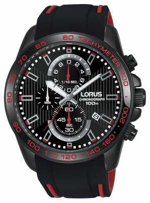 Lorus Mens Sport Chronograph Silicone Strap Black Dial RM387CX9