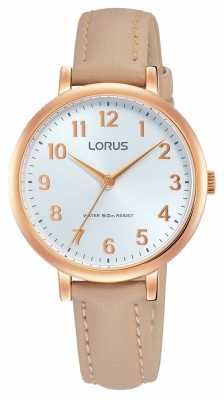 Lorus Womans Soft White Dial Beige Leather Strap RG234MX8
