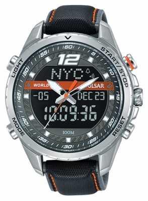 Pulsar Mens Analogue Digital Grey Dial Grey Leather Strap PZ4029X1