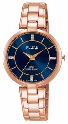 Pulsar Womans Rose Gold Stainless Steel Bracelet Blue Dial PH8326X1
