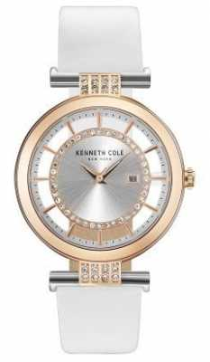 Kenneth Cole Womans Transparency Dial White Leather Strap KC15005002