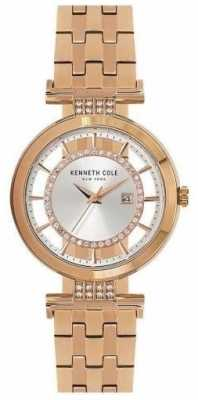 Kenneth Cole Womans Transparency Dial Rose Gold Stainless Steel Strap KC15005004