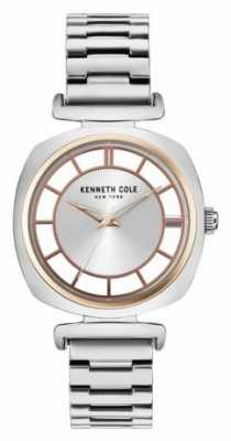 Kenneth Cole Womans Silver Transparency Dial Silver Steel Bracelet KC15108002