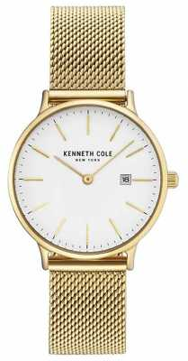 Kenneth Cole Womans Gold Plated Stainless Steel Mesh Bracelet White Dial KC15057006