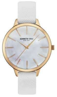 Kenneth Cole Womans White Leather Of Strap Mother Of Pearl Dial KC15056001