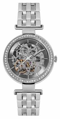 Kenneth Cole Womans Automatic Silver Skeleton Dial Silver Bracelet KC15107004