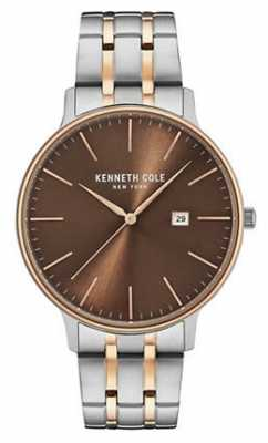 Kenneth Cole Mens Two Tone Steel Bracelet Brown Date Dial KC15095001