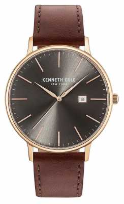 Kenneth Cole Mens Dark Gun Date Dial Brown Leather Strap KC15059008