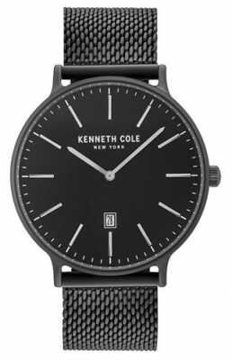 Kenneth Cole Mens Black Ion Plated Steel Mesh Bracelet Black Date Dial KC15057012