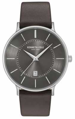 Kenneth Cole Mens Gun Date Dial Dark Brown Leather Strap KC15097005