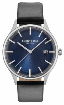 Kenneth Cole Mens Dark Blue Date Dial Black Leather Strap KC15112004