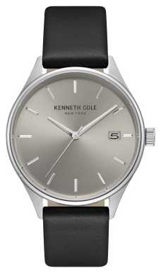 Kenneth Cole Mens Light Grey Date Dial Black Leather Strap KC15112002