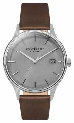 Kenneth Cole Mens Light Grey Date Dial Tan Leather Strap KC15112003