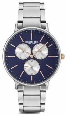 Kenneth Cole Mens Multifunction Blue Dial Stainless Steel Bracelet KC14946008