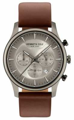 Kenneth Cole Mens Multifunction Silver Grey Dial Brown Leather Strap KC15106001