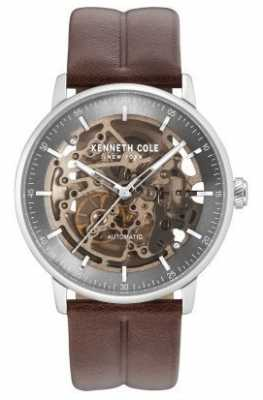 Kenneth Cole Mens Automatic Silver Grey Skeleton Dial Brown Leather Strap KC15104001
