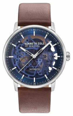 Kenneth Cole Mens Automatic Blue Skeleton Dial Brown Leather Strap KC15104003