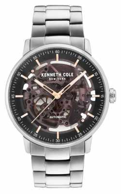 Kenneth Cole Mens Automatic Black Skeleton Dial Stainless Steel Bracelet KC15104004