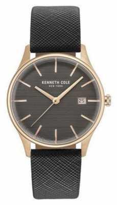 Kenneth Cole Womans Gunmetal Grey Dial Grey Leather Strap KC15109001