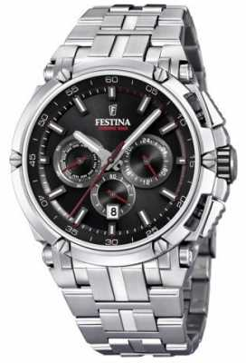 Festina Mens Chronobike 2017 Stainless Steel Black With Red Details F20327/6