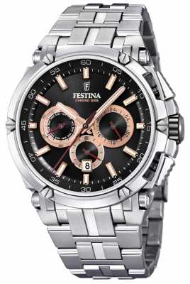 Festina Mens Chronobike 2017 Stainless Steel Black Rose Gold Chrono F20327/8