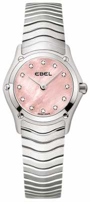 EBEL Womens Classic 12 Diamond Pink Dial Stainless Steel 1216279