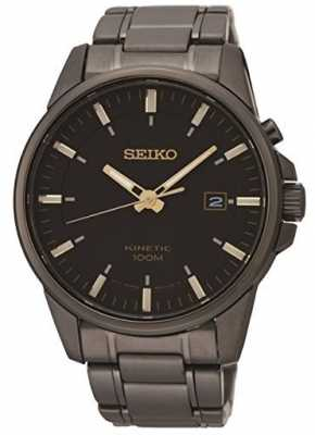Seiko Mens Kinetic Black Ion Plated Steel Watch SKA755P1