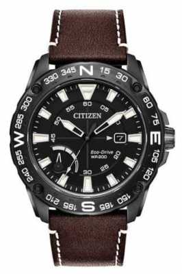 Citizen Mens Eco-drive Brown Leather Strap Power Reserve AW7045-09E