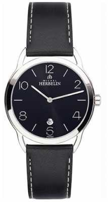 Michel Herbelin Mens Equinox Black Strap Watch 19577/14N